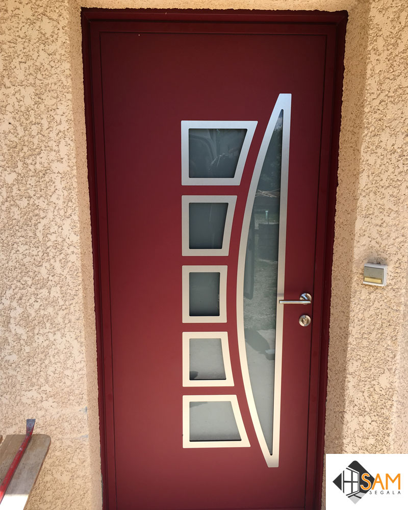 Porte D Entrée Rouge portes d'entrée aveyron / lozère : photos de chantier - sarl